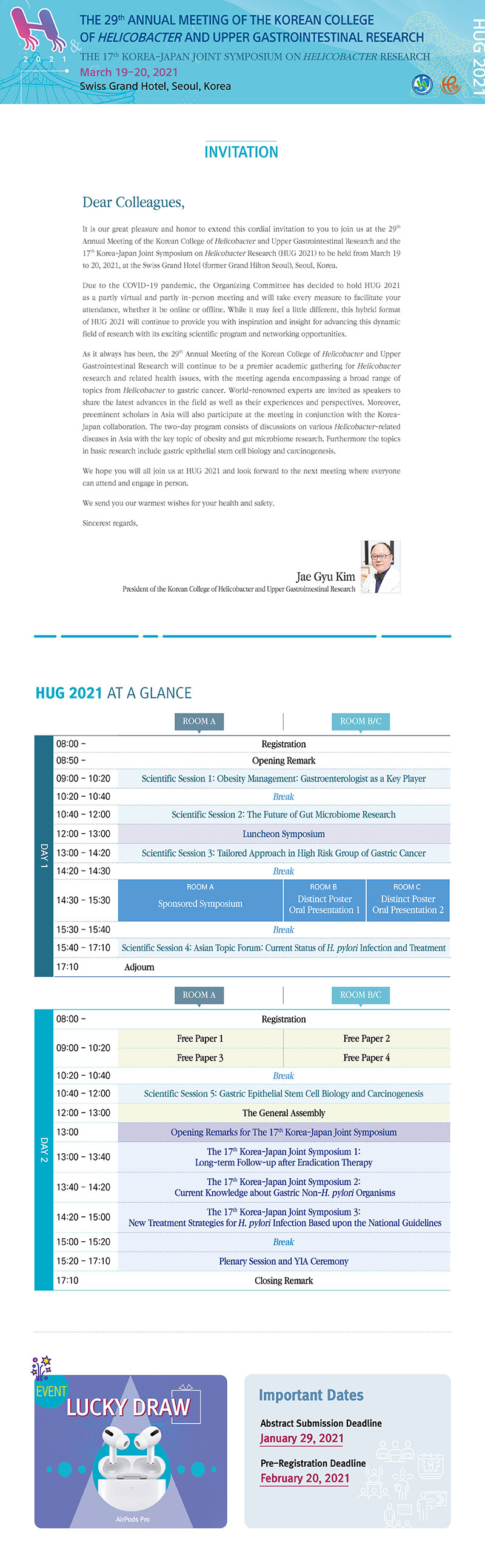"""29th Annual Meeting of the Korean College of Helicobacter and Upper Gastrointestinal Research & The 17th Korea-Japan Joint Symposium on Helicobacter Research"""" (HUG 2021) from March 19th, 2021 to March 20th 2021."""