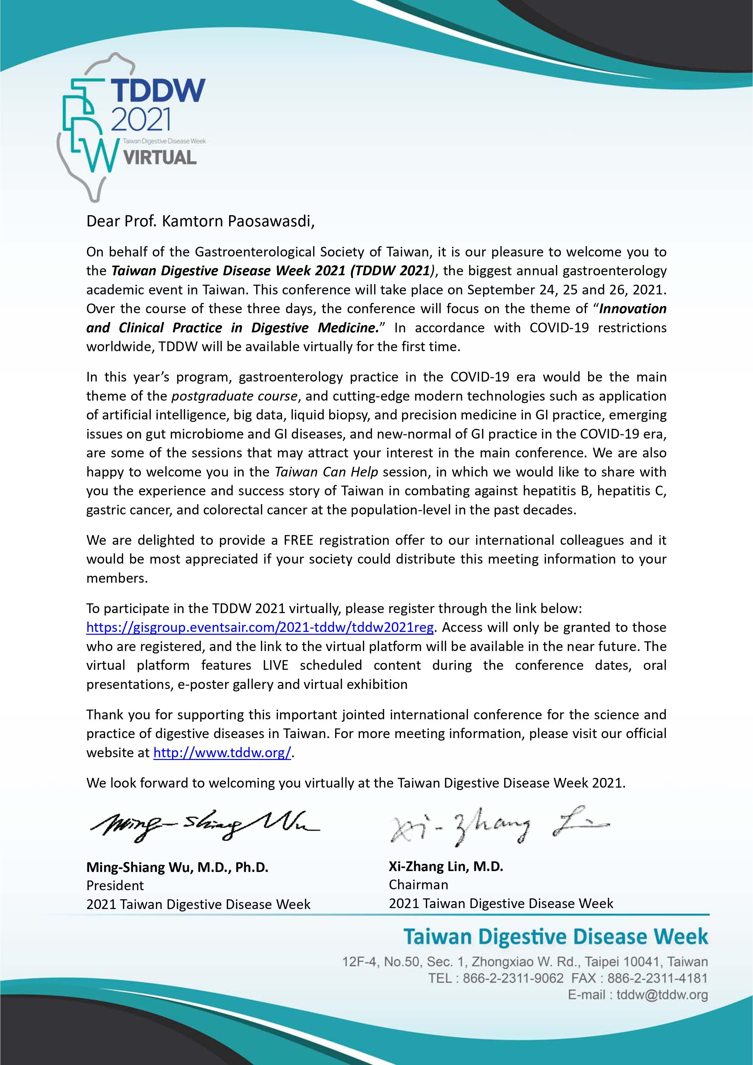 Invitation Letter from 2021 Taiwan Digestive Disease Week (2021 TDDW)